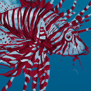 Illustrated Lionfish for iPhone App